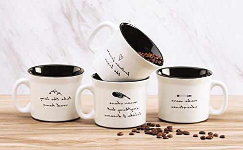 Amici Home, 7CW009AS4R, Wanderlust Coffee Collection, Coffee Dishwasher Ounces, Assorted 4