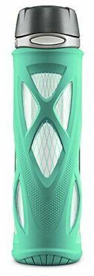 ZULU Atlas 20oz Glass Water Bottle with Flip Lid, Mint, 20 o