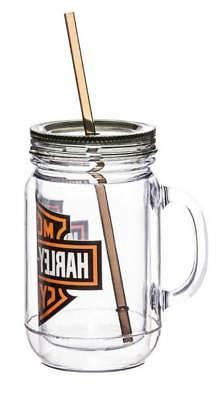Harley-Davidson Bar & Shield Logo Mason Jar Mug, 20oz Clear