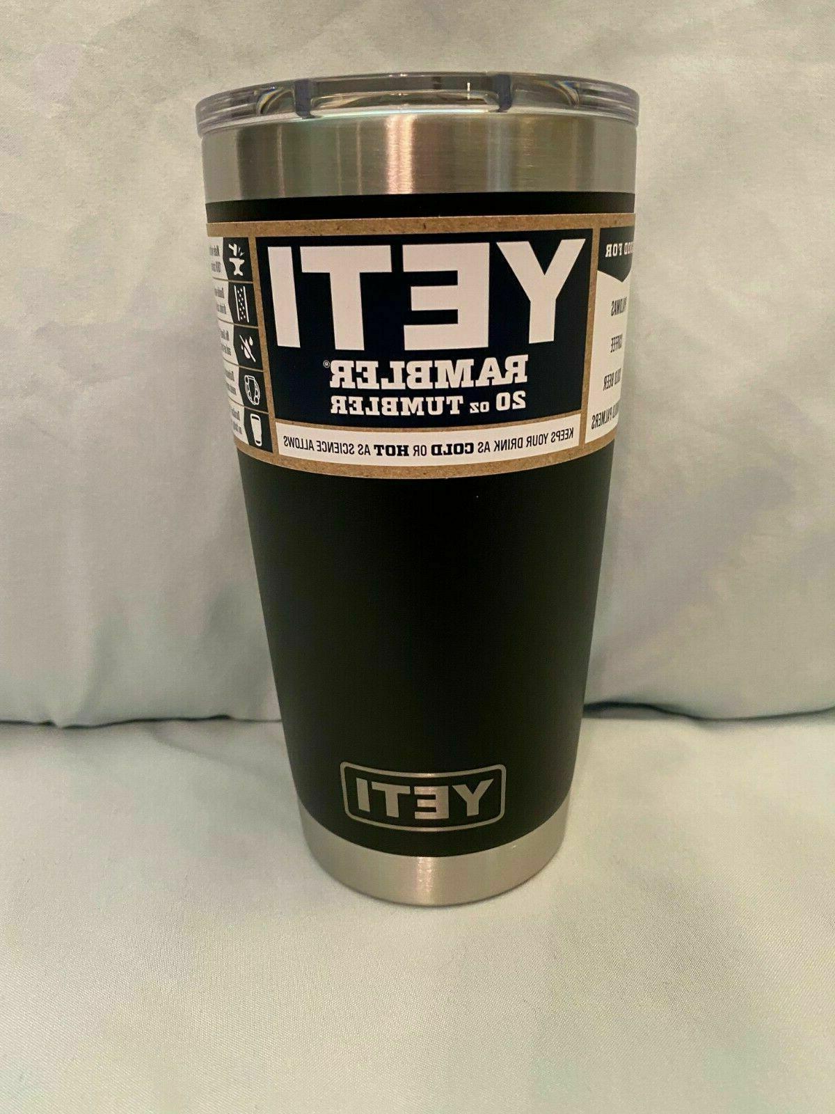 NEW Yeti Rambler 20 oz Black Cup Insulated Tumbler with Tran