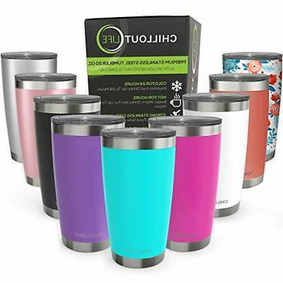 CHILLOUT LIFE 20 oz Stainless Steel Tumbler with Lid & Gift