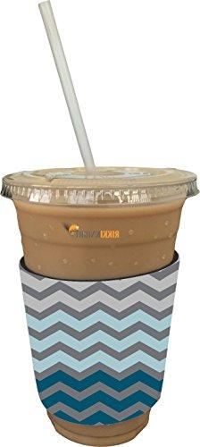 Rikki Knight Chunky Deep Blue Design Latte and Iced Coffee Insulator Neoprene to fit Iced