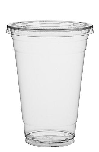 Cold Smoothie Coffee Cups Cups with | 20 Pack | Clear Disposable Pet Cups Ideal for Juice Cocktail Party Cups