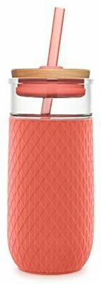 Ello Devon 20OZ Glass Tumbler with Straw, Coral, 20 Oz.