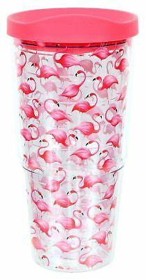 DEI Flamingo Insulated Plastic Tumbler,Pink,20 oz. New