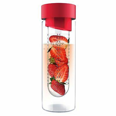 Asobu It 20 Ounce Glass Water With Fruit Infuser, Red