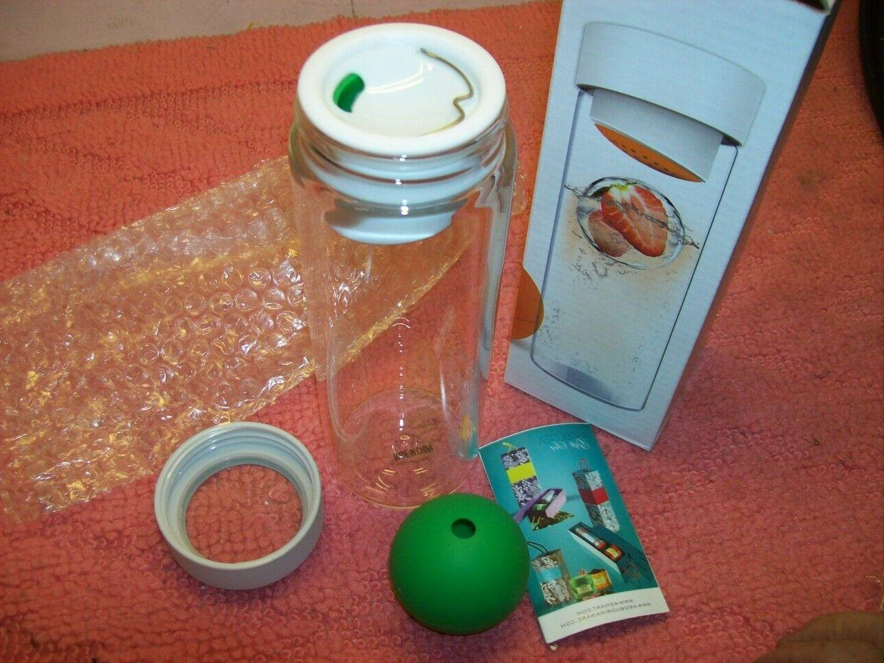 glass 20oz water bottle fruit veggie infusion