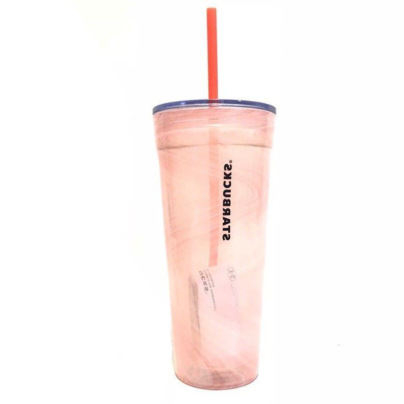 Starbucks Glass Cup Cold Summer 2018 Pink Marble
