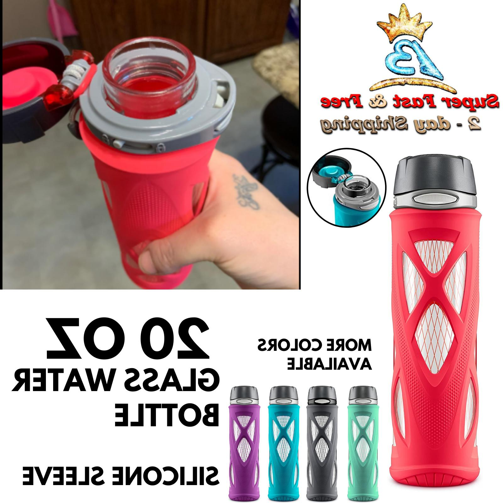 glass water bottle with flip lid gym