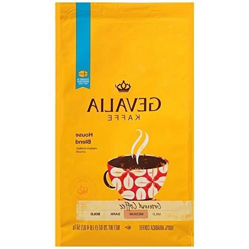 GEVALIA House Blend Coffee, Medium Roast, Ground, 20 Ounce,