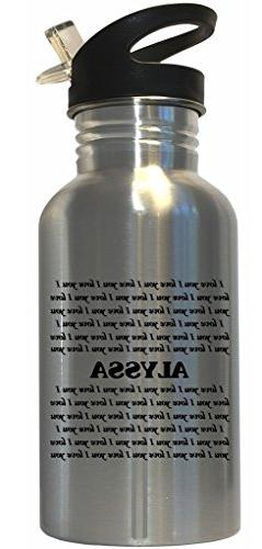 I Love You Alyssa Stainless Steel Water Bottle Straw Top