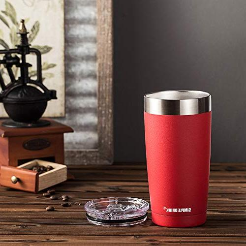 SIMPLE DRINK 20oz Tumbler with Lid - Stainless Steel Coffee Travel Hot and