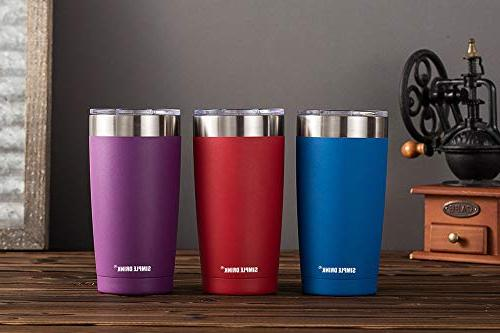 SIMPLE DRINK Insulated Tumbler Lid - Steel Travel Mug Hot and Powder Coated