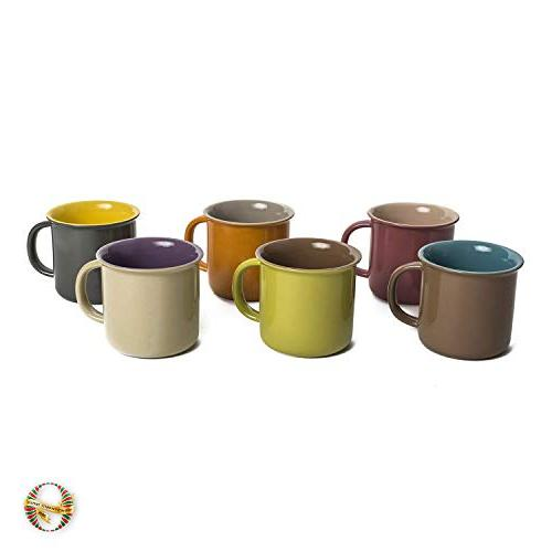 Yedi Houseware Set of 6 oz Porcelain Mugs, Cocoa, Hot Colors