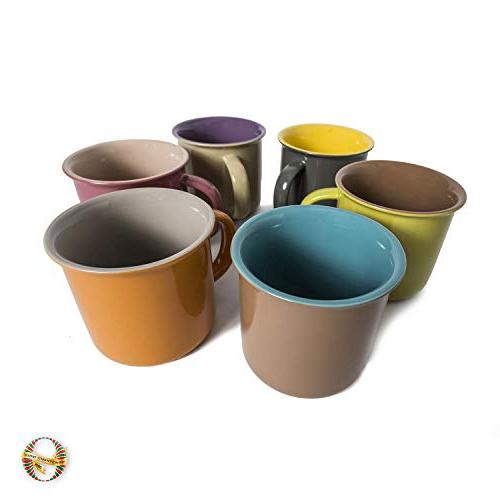 Yedi 6 Porcelain Mugs, Cocoa, 6, Hot Assorted