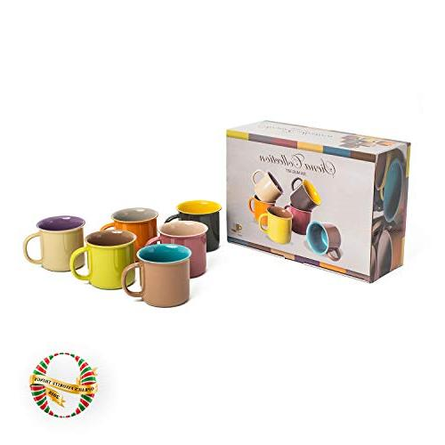 Yedi Houseware Set of 6 20 Porcelain Mugs, Coffee, Cocoa, Set of Hot Colors