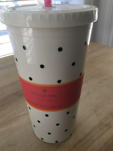 Kate DOT Insulated Tumbler w/Straw NEW