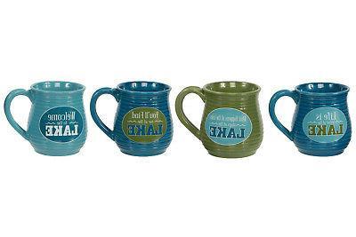 lake sayings ribbed 20 oz mug set