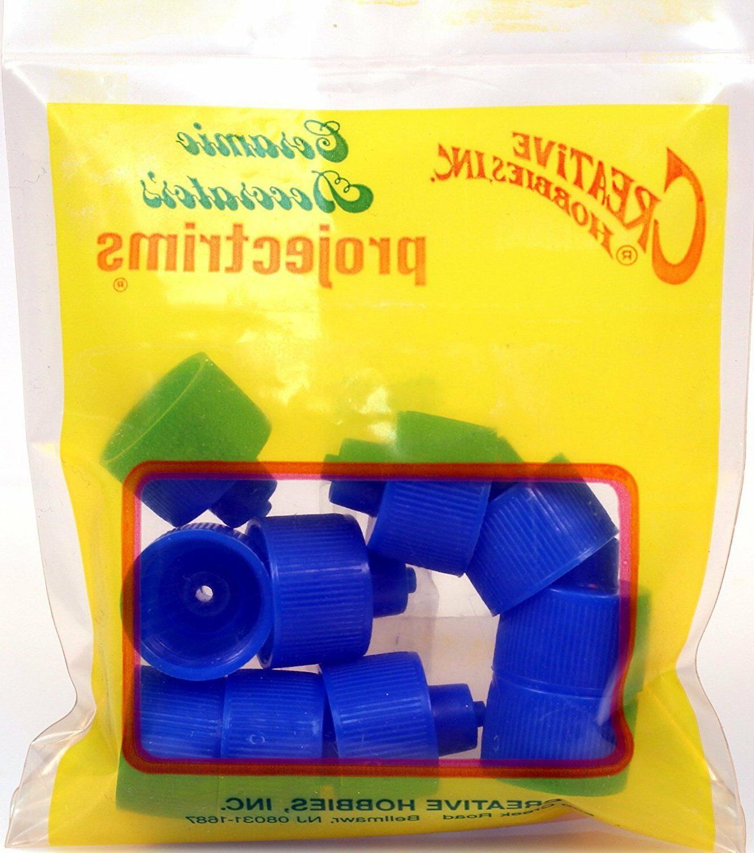 Luer Bottle Cap, 20-410 Threads 2, 4 Bottles, Blue Plastic,