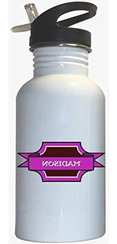 Madison - Girl Name White Stainless Steel Water Bottle Straw