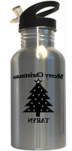 Merry Christmas Taryn Stainless Steel Water Bottle Straw Top