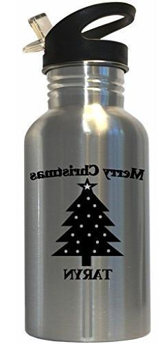 Merry Christmas Taryn Stainless Steel Water Bottle Straw Top