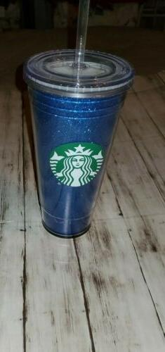 NEW Starbucks BLUE GLITTER Cold Cup Tumbler With Straw  20 o