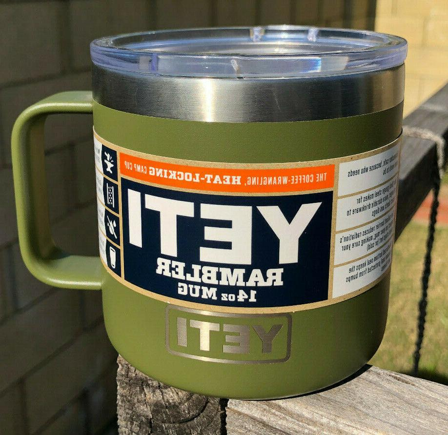 olive green rambler 14 oz stainless steel