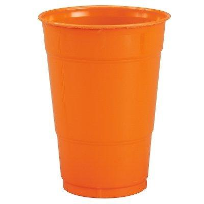 orange plastic cups