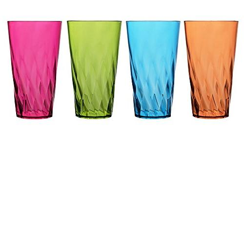 Palmetto 20-ounce Plastic Tumblersset of 16 in 4 Assorted Colors