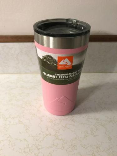 pink powder coated 20oz stainless steel tumbler