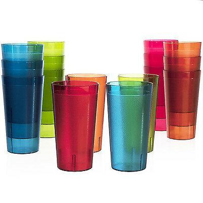 Plastic Tumbler Soda Cups 16 pc Set Drinking Glasses Water T