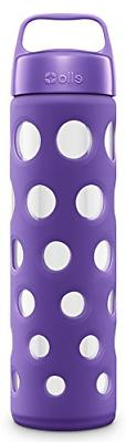 Pure Glass Water Bottle with Silicone Sleeve, Grape Fizz, 20