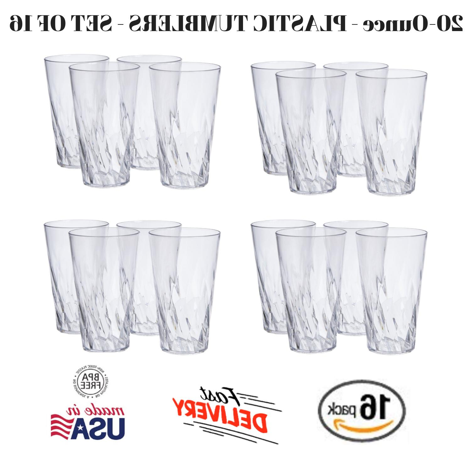 Set Of 16 New Clear Plastic Beverage Tumblers 20 Oz Dishwash