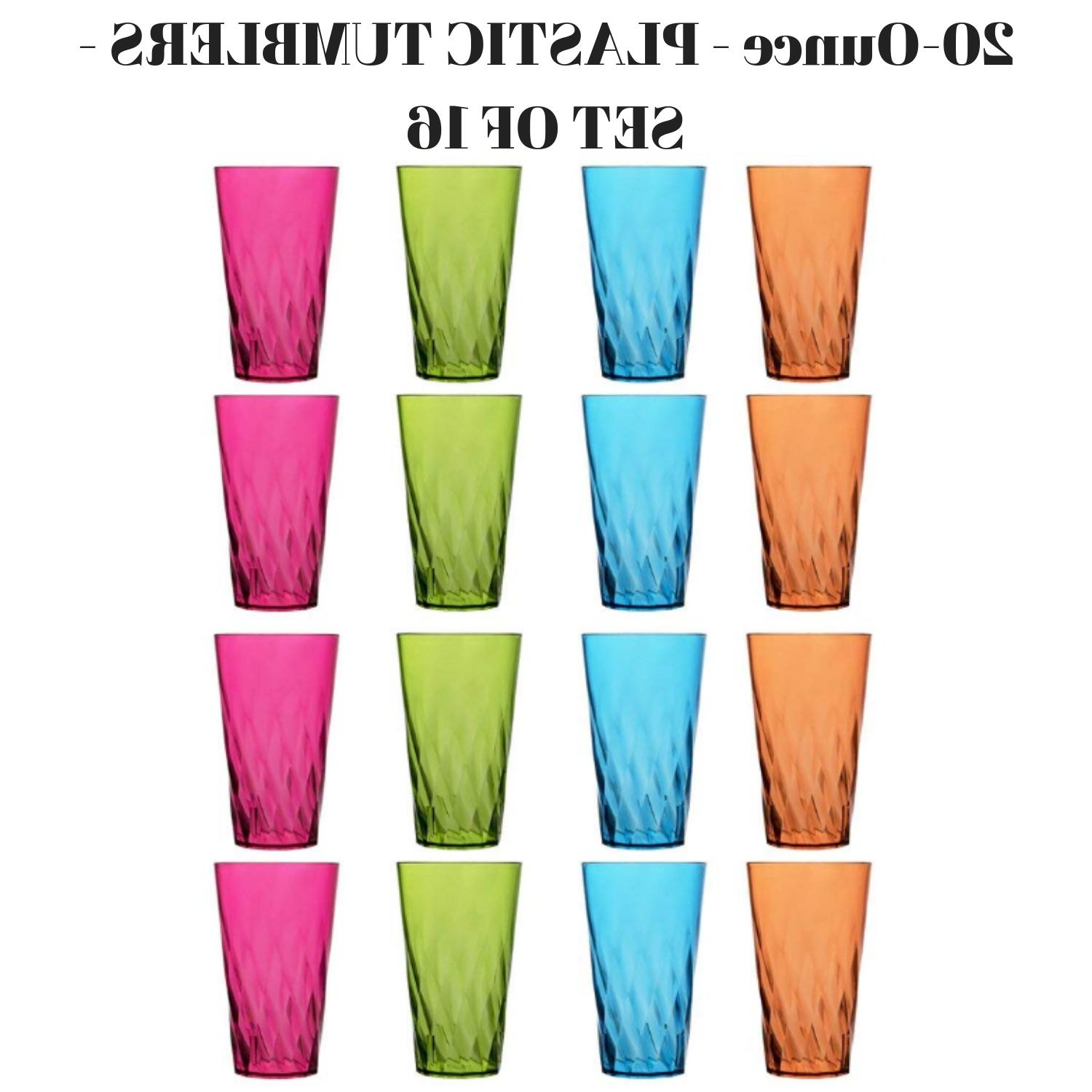 Set Of 16 Plastic Beverage Tumblers In 4 Assorted Colors 20