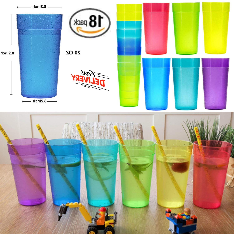 Set Of 18 Durable Shatter Proof Beverage Plastic Tumblers 20