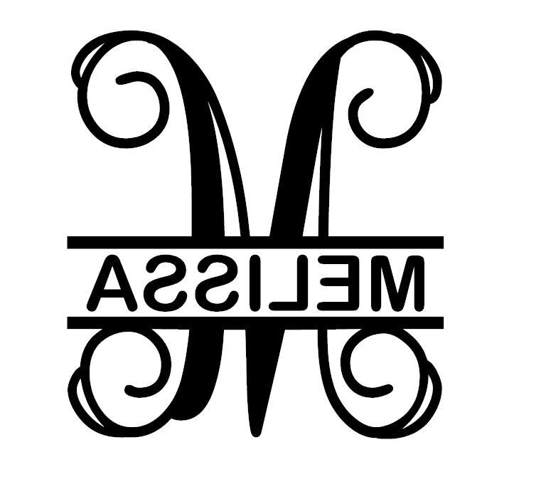 split initial vine monogram name decal