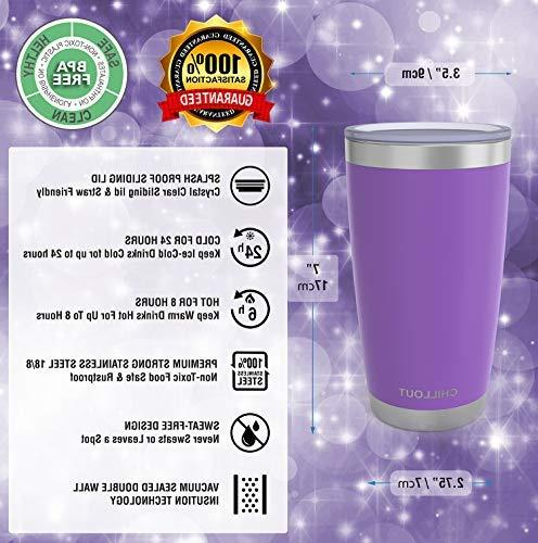 20 oz Steel Tumbler Sliding Quality Double Insulated Travel Coffee - Hot - Purple Powder Tumbler oz