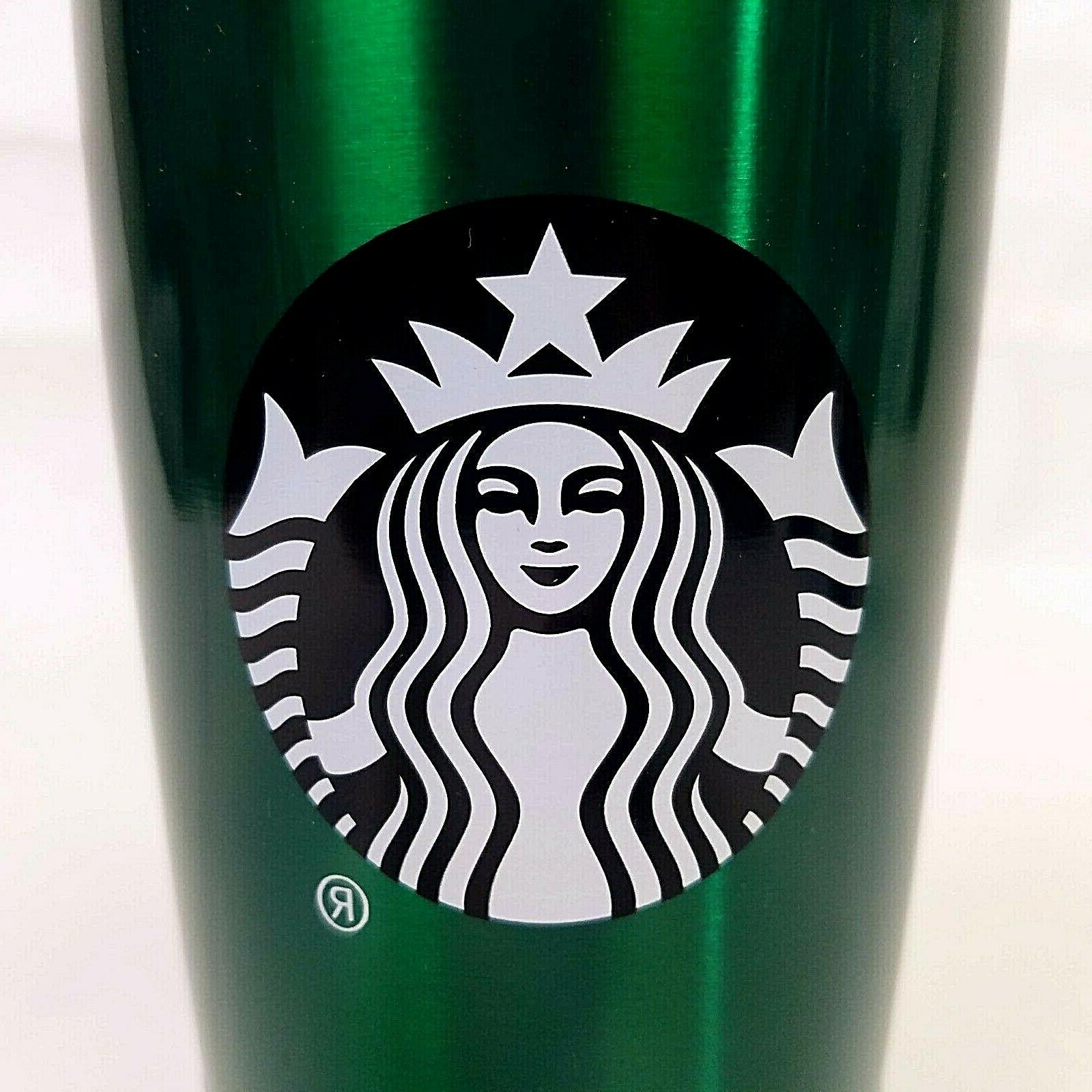 STARBUCKS STAINLESS STEEL SEALED GREEN SILVER NEW COLD BREW