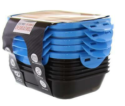 6 Fitness Seal Containers Black/Neon Blue Set of