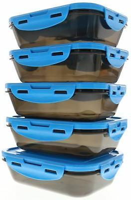 6 Fitness Sure Seal Containers 20oz Blue