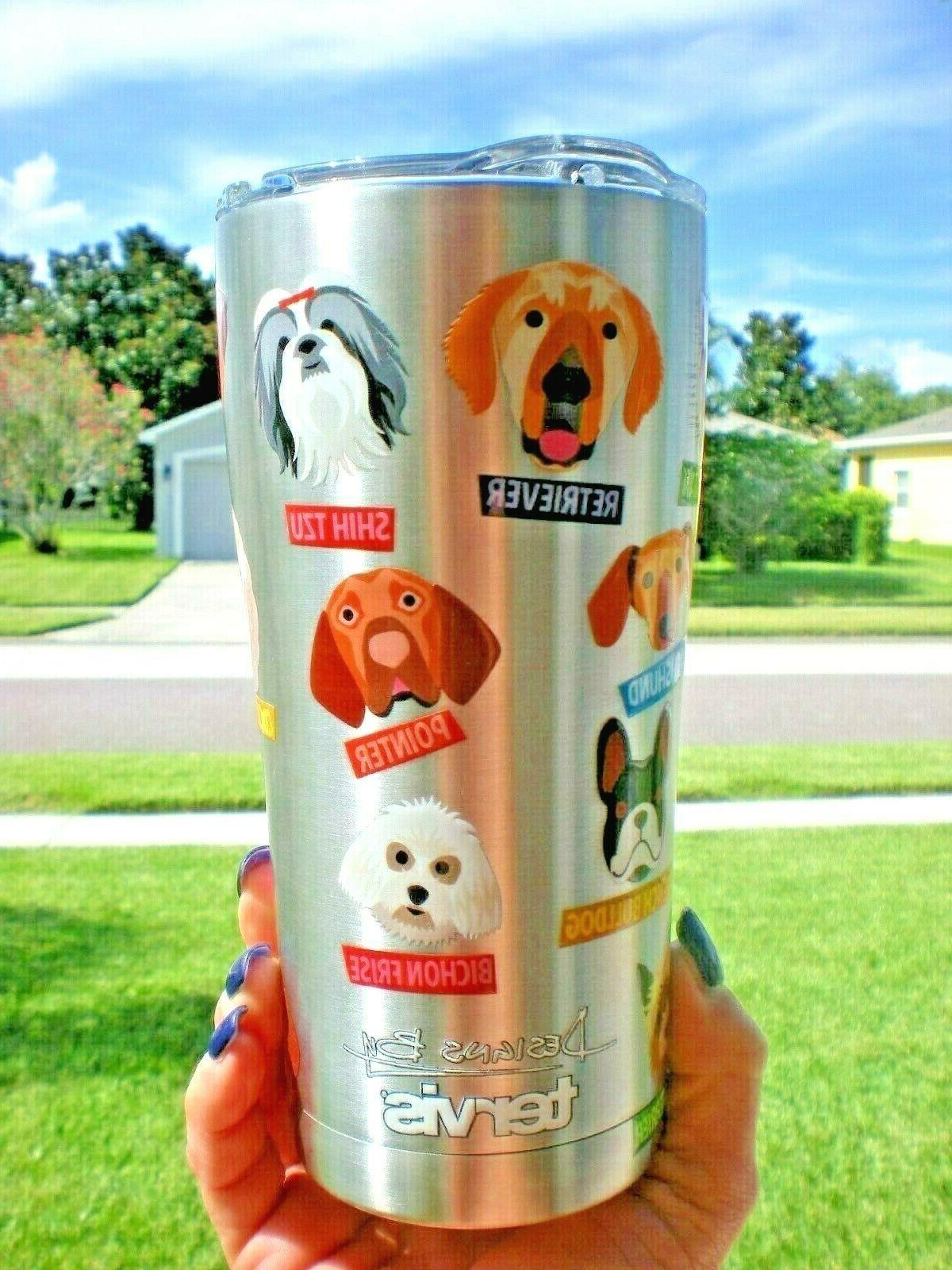 Tervis Tumbler Stainless Steel 20 oz Flat Art Dog Breed Tumb