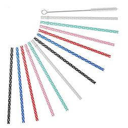 "ALINK 10.5"" Long Reusable Plastic Replacement Drinking Straw"