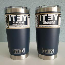Lot of 2 YETI Rambler S/S NAVY Cups Insulated 20oz Tumblers