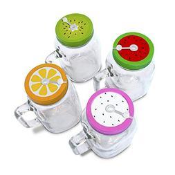 4 x 20oz Mason Jar Mugs with Handles, Lids, Reusable Straws