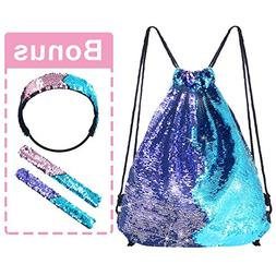 Pawliss Mermaid Reversible Sequin Drawstring Backpack with B