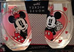 Disney Mickey Mouse and Minnie Mouse Tear Drop Glass Set