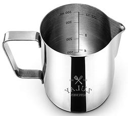 Zulay Milk Frother Cup 12oz, Stainless Steel Pitcher, Measur