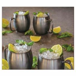 20 OZ Moscow Mule Mugs Brushed Gunmetal Stainless Steel 4 Pa