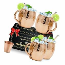 Moscow Mule Copper Mugs Set of 4 - Solid Copper Handcrafted